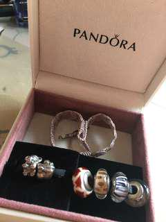 Pandora bracelet complete with 6 charms