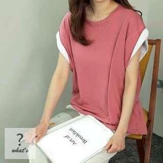 🚚 Korea 🇰🇷 撞色反折袖寬鬆棉T