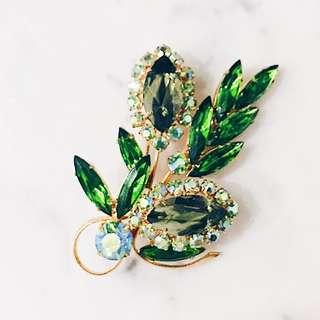 Vintage Green Olive Flower Crystal Brooch Pin