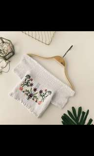 PREORDER Embroidery Flowers Off Shoulder Crop Top
