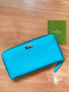 [De-cluttering Sale] Pre-Loved Genuine Kate Spade Turquoise Leather Wallet