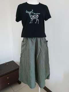 🚚 草綠色棉麻寬褲