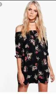 Off shoulder floral black shift dress