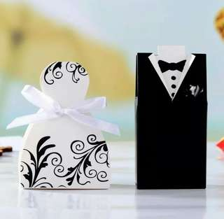 🍀100pcs Bride And Groom Dresses Wedding Gifts Box🍀