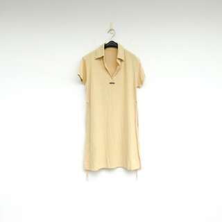 🚚 二手 黃色 綁帶 彈性 洋裝 明太子 715