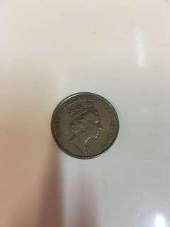 香港1985年女皇頭5元硬幣