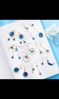 PREORDER Tumblr Blue Star and Moon Planet Geometry Earrings