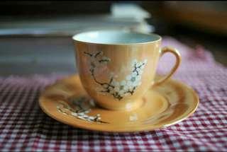 醴陵電光黄釉手繪梅花咖啡杯