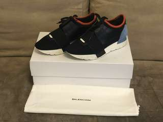100% Real Balenciaga Mihara Black x Blue Leather x Suede Ladies Race Runner Sneakers Trainers Shoes 黑色 x 藍色鞋 - NOT ADIDAS ALEXANDER MCQUEEN VALENTINO Y-3 PUMA GUCCI