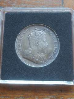 Rare Condition 1907H Straits Silver Coin