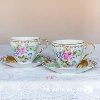 TWO vintage English fine china teacups and saucers, pastel green, pink rose