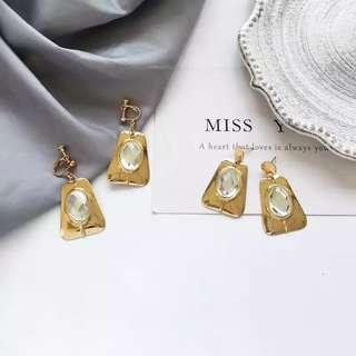 歐美現貨金屬風格誇張鑲鑽寶石耳針耳環/耳夾