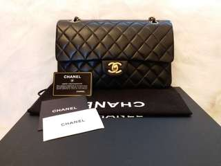 現貨Vintage Chanel黑色羊皮金扣Double Flap bag CF25cm