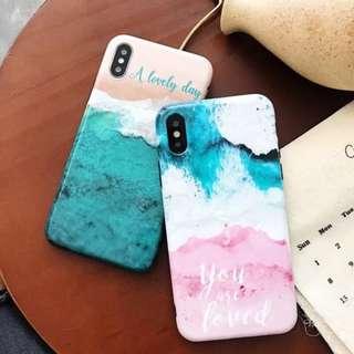 手機殼IPhone6/7/8/plus/X : 夏日沙灘情侶全包黑邊光面軟殼