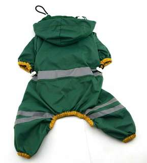 2colors   5size  Pet raincoat with reflective strips and drawstrings