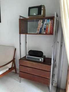 vintage mid century danish teak divider display cabinet