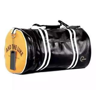 Men leather gym duffle bag