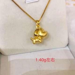 【狗狗系列】足金金飾 999硬金吊墜 (1.4g) 999 Gold Pendant Only