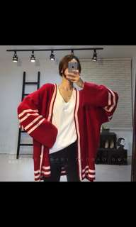 PREORDER Oversized Stripes Knitted Sweater Cardigan