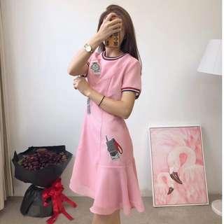 2018年LV早秋短袖魚尾連衣裙 連身洋裝 粉色