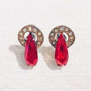 Vintage Sterling Silver Ruby Crystal Drop Earrings