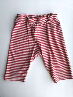 PRELOVED MOTHERCARE Baby's Red & White Stripes Cotton Sleep Pants - in super loved condition