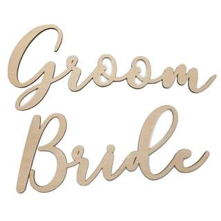Bride & Groom Signs (Natural Wood)