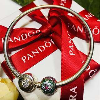 Authentic Pandora Charm Pave Ball Beads with Green CZ Italy Sterling Silver 92.5 (CHARMS ONLY)