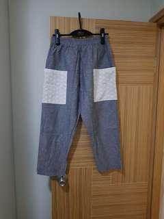 韓國新款麻質闊褲 七分闊腳褲 橡筋腰