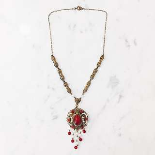 Vintage 1940s Bohemian Cherry Amber & Faux Pearl Brass Filigree Necklace