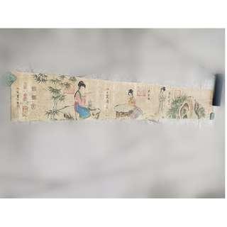 [舊時光] 早年鄉下收藏 靜心齋藏 仇英 寫 仕女 美女 人物畫 橫軸 畫卷 木筒封存