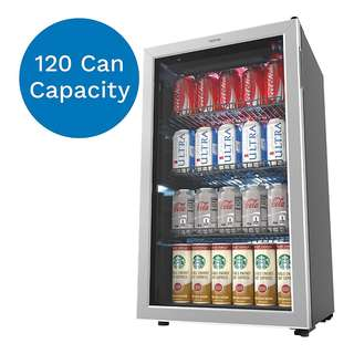 [IN-STOCK] hOmeLabs Beverage Refrigerator and Cooler - Mini Fridge with Glass Door for Soda Beer or Wine - 120 Cans Capacity - Small Drink Dispenser Machine for Office or Bar with Adjustable Removable Shelves