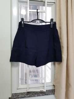 韓國新款靚料西褲短褲 橡筋腰 深藍色