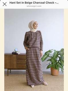Modern Whimsigirl Kurung (Hani Set in Beige and Charcoal Checkered)