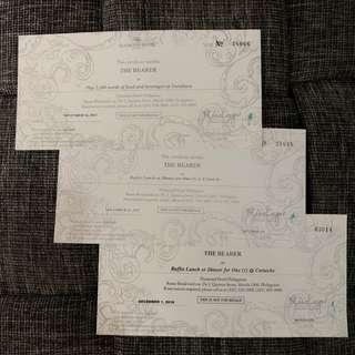 Yurakuen, Corniche gift certificates