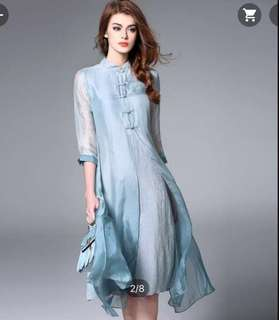 Dusty Blue Silk Linen Midi Cheongsam / Qipao