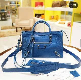 BRAND NEW Balenciaga Blue Small Classic City Croc-Ebossed Crossbody Bag ❤MARK DOWN SALE P95k❤ ✖️✖️P98k✖️✖️ With dustbag,card,long strap & leather swatch Swipe for detailed pics