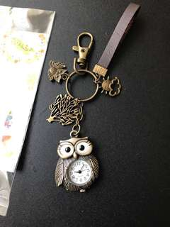 Lovely Forest Wood Owl Pocket Watch Key Chain