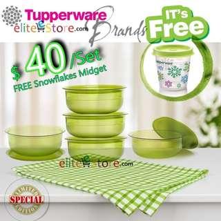 Tupperware Table Collection Bowls Set 275ml x5 [ecoGREEN] + FREE Snowflakes Midget Luxury