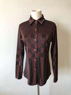 💯真品 近全新 Auth Fendi shirt 網紅人氣經典修腰高級面料長袖外套
