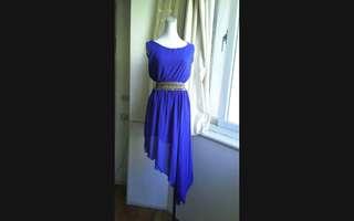 🚚 韓版 寶藍高腰雪紡洋裝