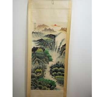 [舊時光] 家藏珍品 名家宋文治先生寫 山水畫 手繪畫軸 國畫