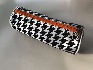Cool Funky Durable Hipster Geometric Design Black Orange Silver White Cylinder Pencil Case with Zipper | Chevron Fun Bright Stylish Print Pattern Material Stationery Holder Case Cases Bag Bags Pouch Teen Teens Adult School Student Students Work Office