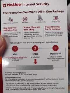 Mcafree antivirus 2x 1 year