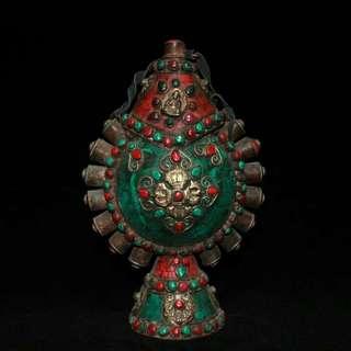 鼻煙壺 老純銅鑲嵌貴石 紅綠松石象煙具