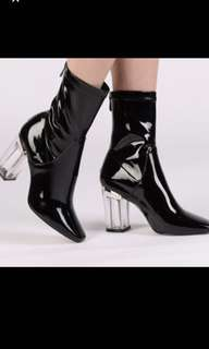 Public Desire Chloe Perspex Heeled Ankle Boot