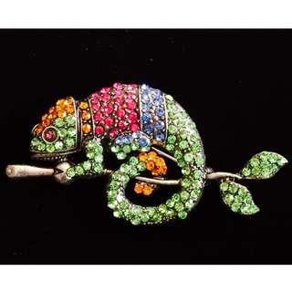 US Diamanté Rhinestones Crystal Reptiles Brooch Pin 美國 變色龍 蜥蝪 爬蟲類  胸針 襟針 別針 心口針