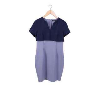 Zalora Dark Blue and Grey Mini Dress