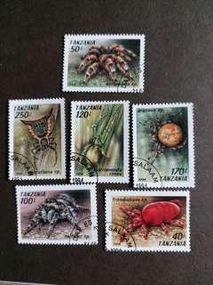 坦桑尼亞郵票 已銷昆蟲郵票