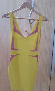 sexy yellow cocktail dress